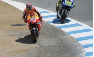 Tanto Marc como Rossi excedieron los límites de la pista